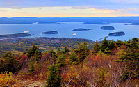 View of Bar Harbor from top of Cadillac Mountain